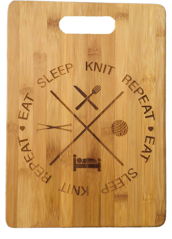 Eat Knit Sleep Repeat  (Large) Bamboo Cutting Board