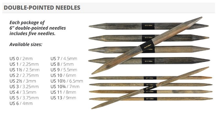 LYKKE 6 inch Driftwood Double Point Needles