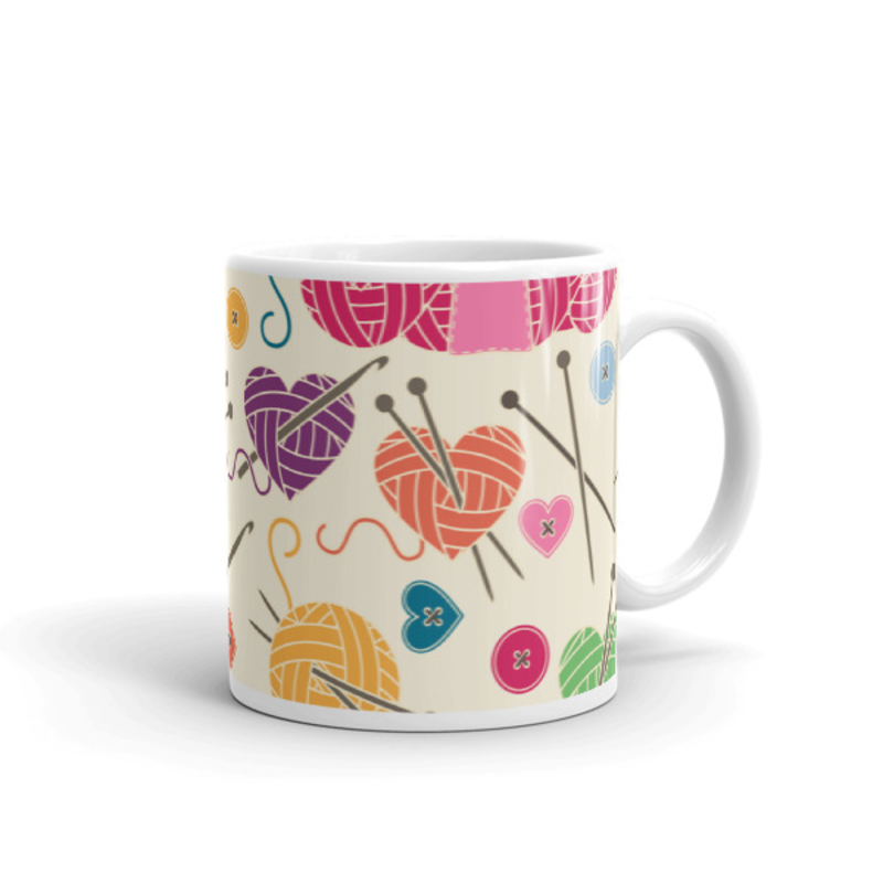 Knitting Coffee Mug 11oz Ceramic (Version F)