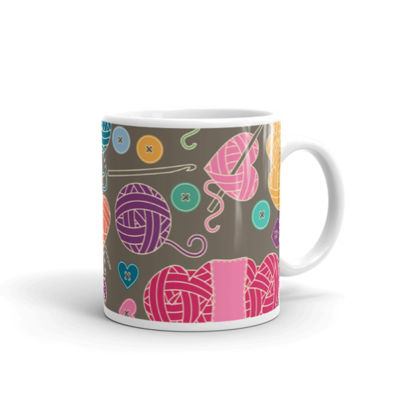 Knitting Coffee Mug 11oz Ceramic (Version K)