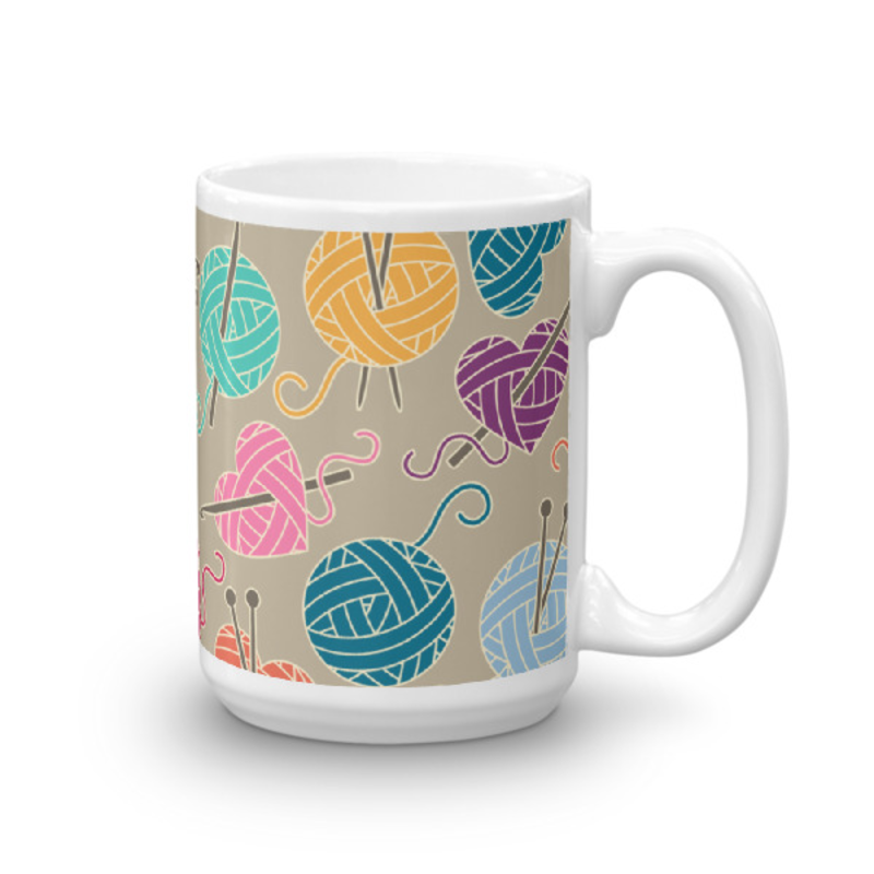 Knitting Coffee Mug 15oz Ceramic (Version A)