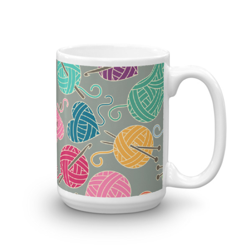 Knitting Coffee Mug 15oz Ceramic (Version D)