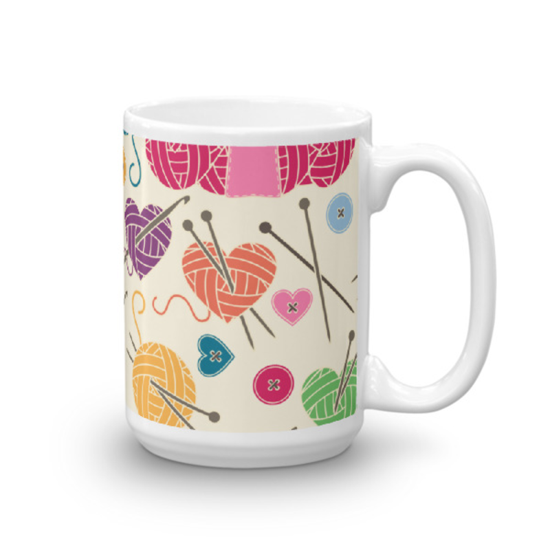 Knitting Coffee Mug 15oz Ceramic (Version F)