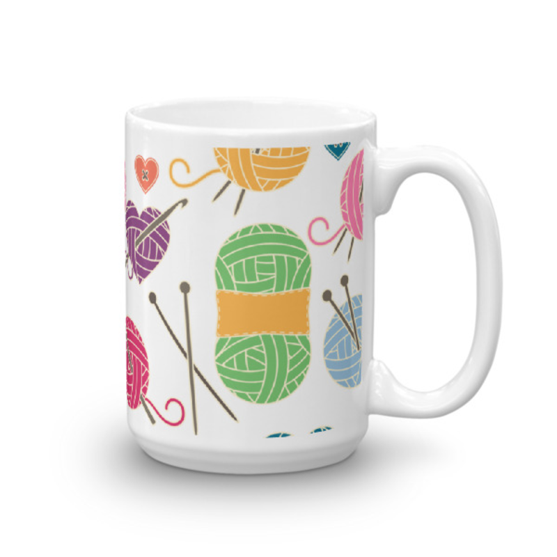Knitting Coffee Mug 15oz Ceramic (Version H)