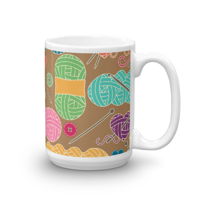 Knitting Coffee Mug 15oz Ceramic (Version J)