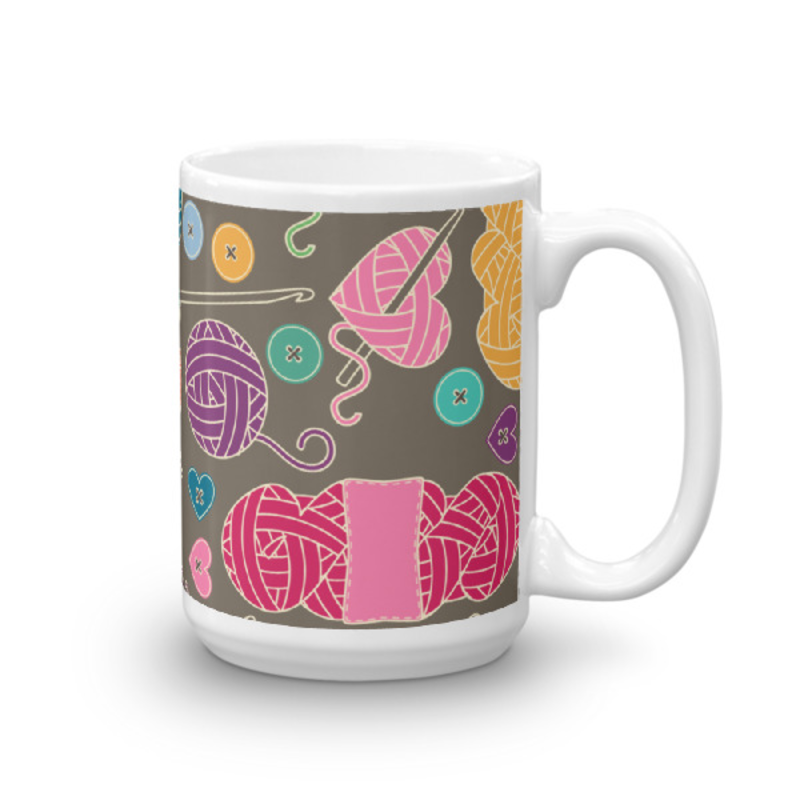 Knitting Coffee Mug 15oz Ceramic (Version K)
