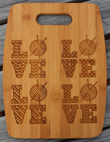 Natural Bamboo Cutting Board (Arched) Love Knitting 5 Designs by Handsome Fibers