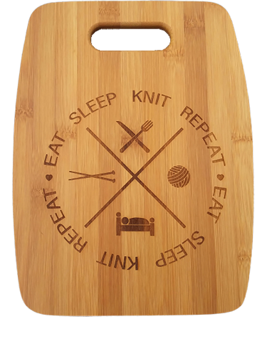 Natural Bamboo Cutting Board (Arched) Eat Knit Sleep Repeat by Handsome Fibers
