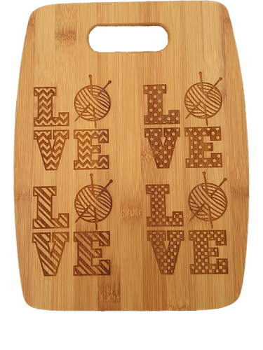Love Knitting 5 Designs (Arched) Bamboo Cutting Board