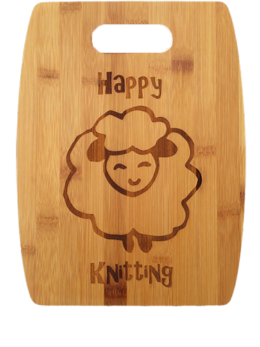 Happy Knitting Sheep (Arched) Bamboo Cutting Board