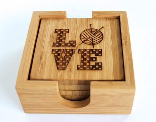Love Knitting Bamboo Square Cup Coasters