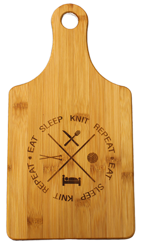 Eat Knit Sleep Repeat Cheese-Wine Bamboo Cutting Board