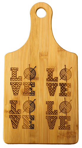 Love Knitting 5 Designs Cheese-Wine Bamboo Cutting Board
