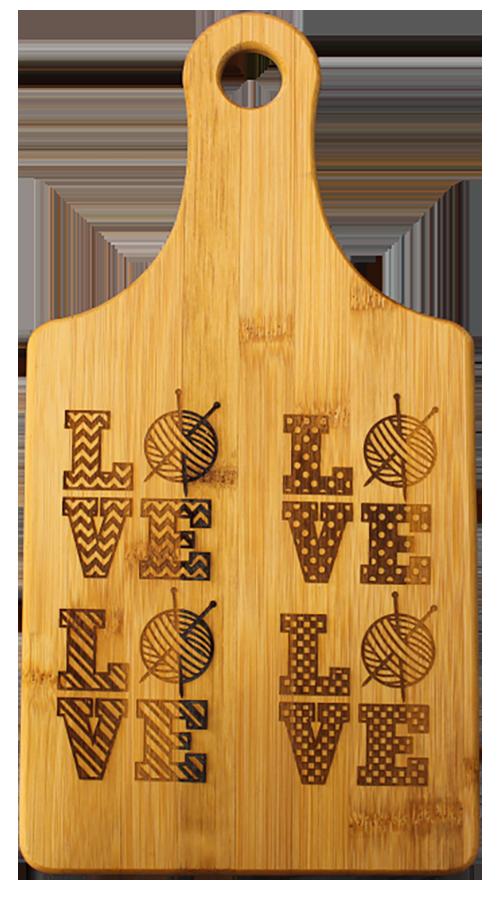 Love Knitting 5 Designs Cheese Wine Bamboo Cutting Board