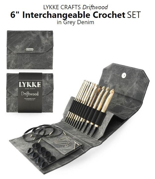 Lykke Driftwood Crochet 6 inch Tunisian Interchangeable Hook Set