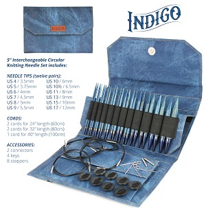 "Lykke INDIGO 5"" Long Tip Interchangeable Knitting Set"