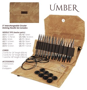 "Lykke UMBER 5"" Long Tip Interchangeable Knitting Set"