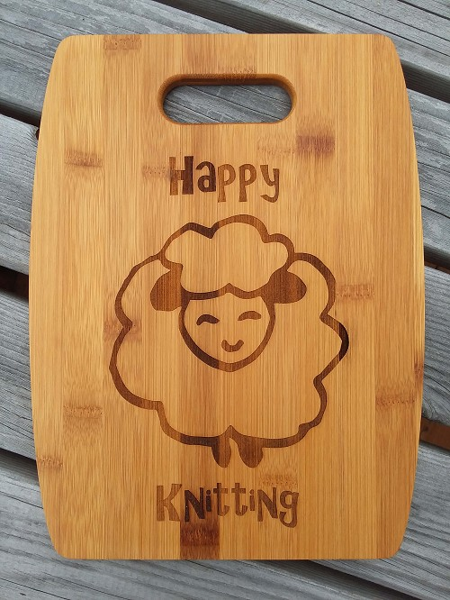 Natural Bamboo Cutting Board (Arched) Happy Knitting Sheep by Handsome Fibers