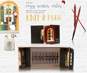 "Knitters Pride Knit & Purr Millennium 4.5"" Interchangeable Needle Gift Set With Free Tote"